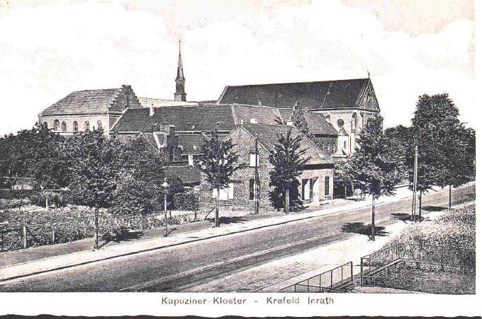 Kloster um 1905 mit Haus Nr.568 1. Unterkunft der Kapuziner